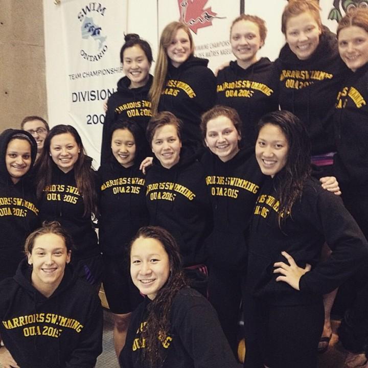 U Waterloo Warrior Women's Swim Team T-Shirt Photo
