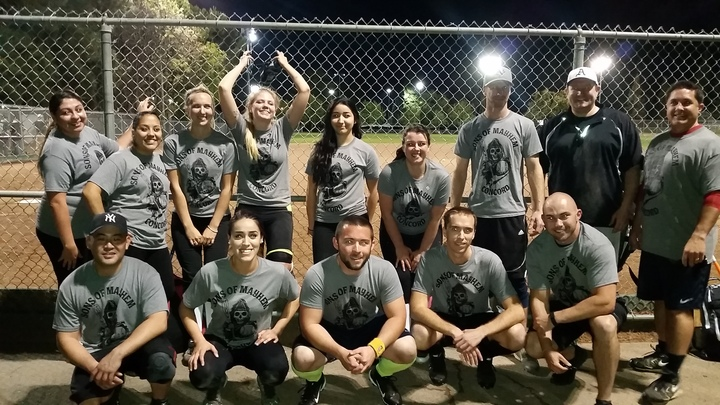 Sons Of Mayhem Coed Softball Team 1 0 W!! T-Shirt Photo