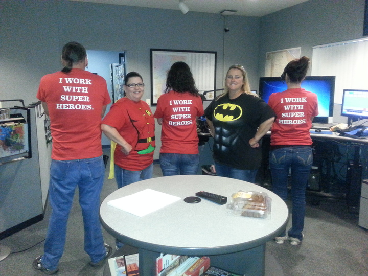 Superheros Behind The Scene T-Shirt Photo
