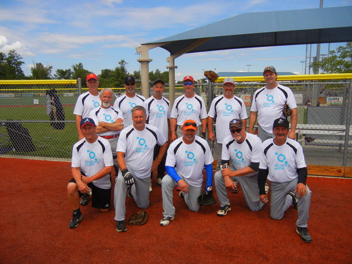 65 & Over Senior Softball. Reliant Recovery Water T-Shirt Photo