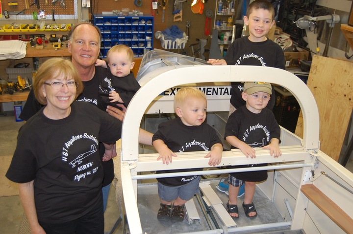 Building An Airplane With Four Grandsons T-Shirt Photo