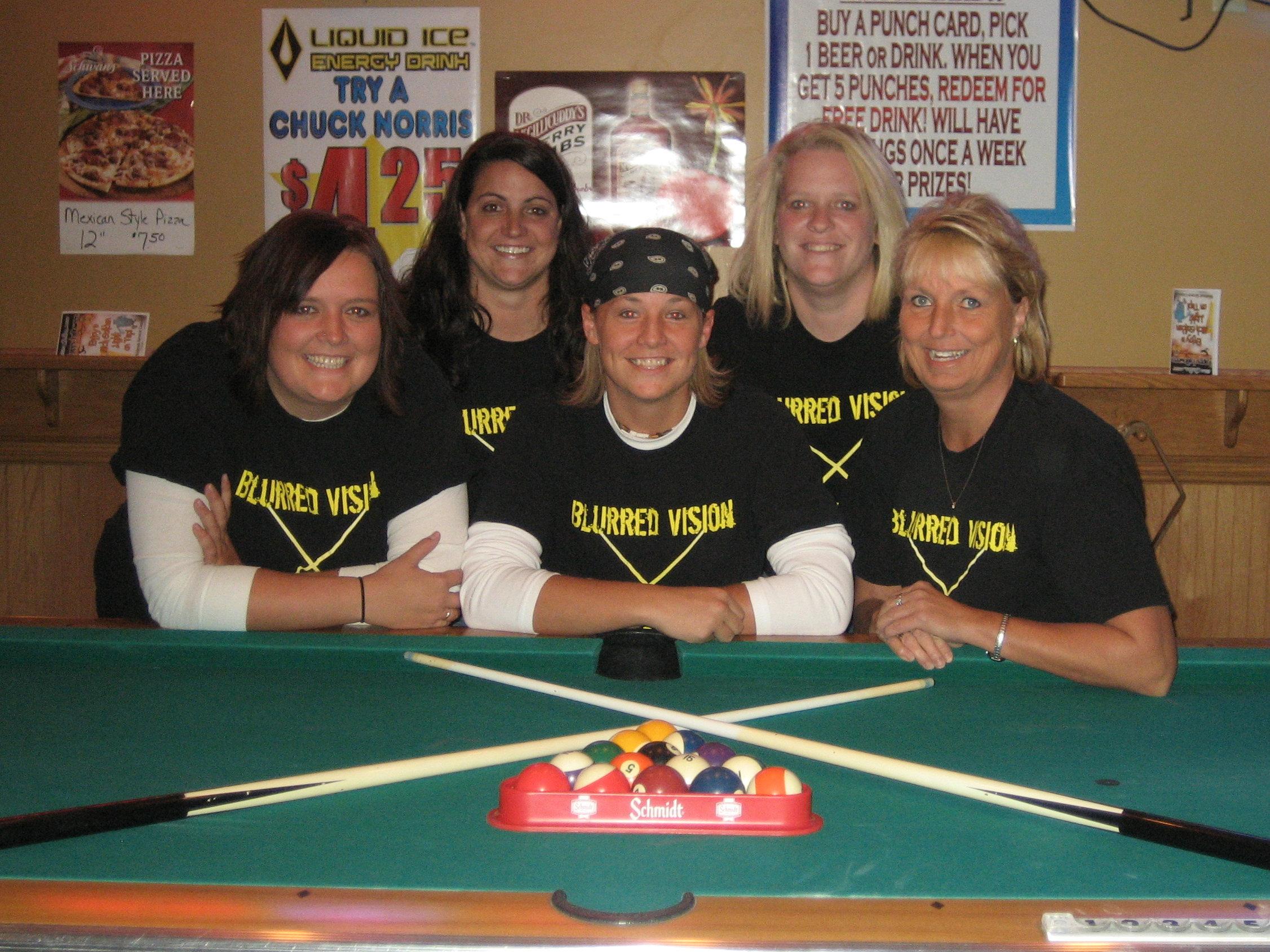 blurred vision pool team t shirt photo