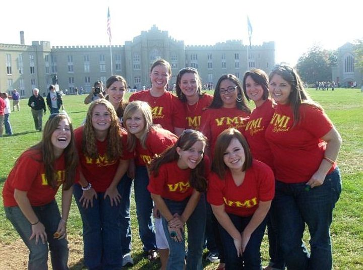 Vmi Girlfriends In Front Of Barracks T-Shirt Photo