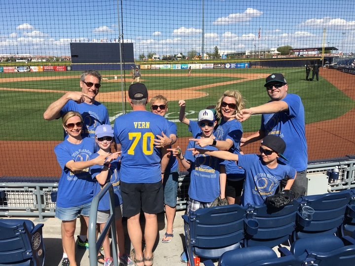 Celebrating Papa's 70th Birthday At Mariner's Spring Training In Az.  T-Shirt Photo