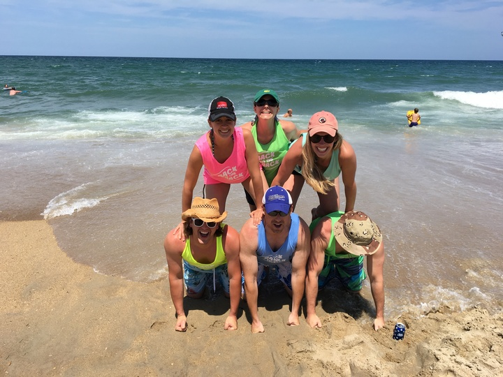 Before The Wave Took Out Our Human Pyramid  T-Shirt Photo