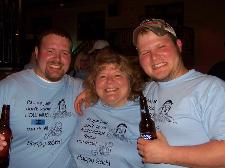 Birthday Boy With His Mom And Brother. T-Shirt Photo