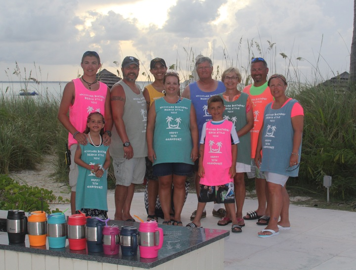Gpa Mc Vickar 70th Bday On Beach T-Shirt Photo