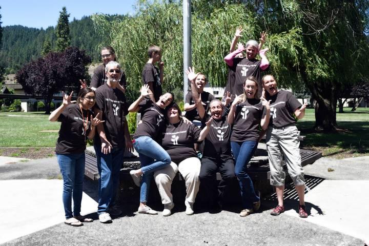 Sign Language Interpreters Having Fun! T-Shirt Photo