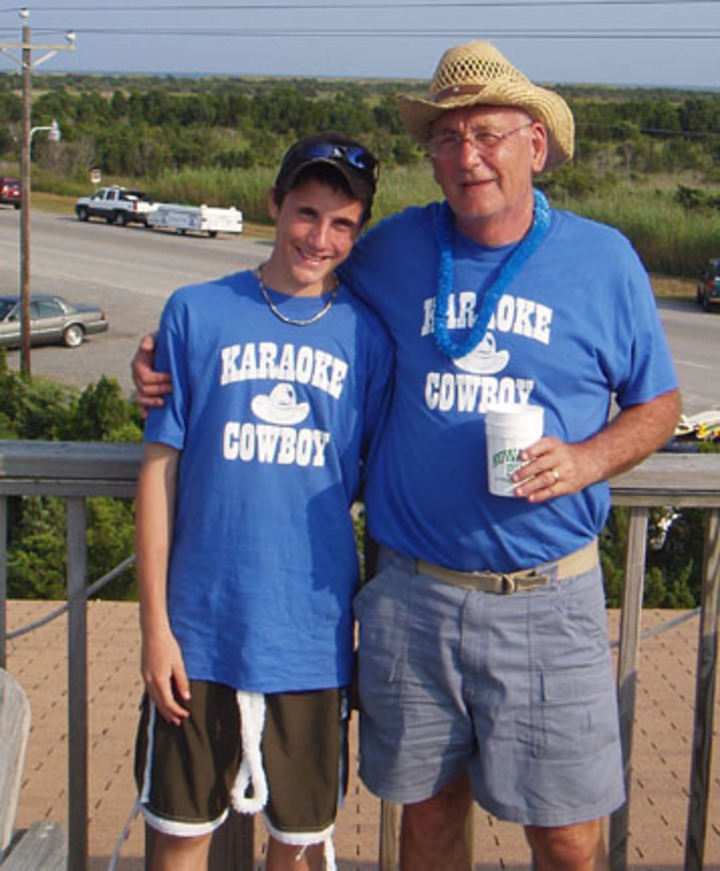 Karaoke Cowboy And Grandson T-Shirt Photo