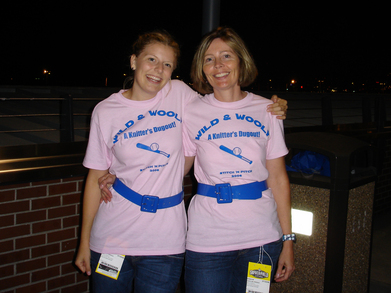 Mother Daughter Team For Knitting And Baseball Fun T-Shirt Photo