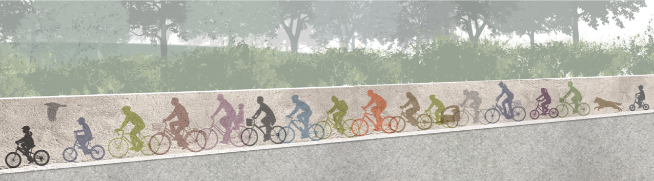 The proposed bike-themed mural design. Credit: Mike Powers