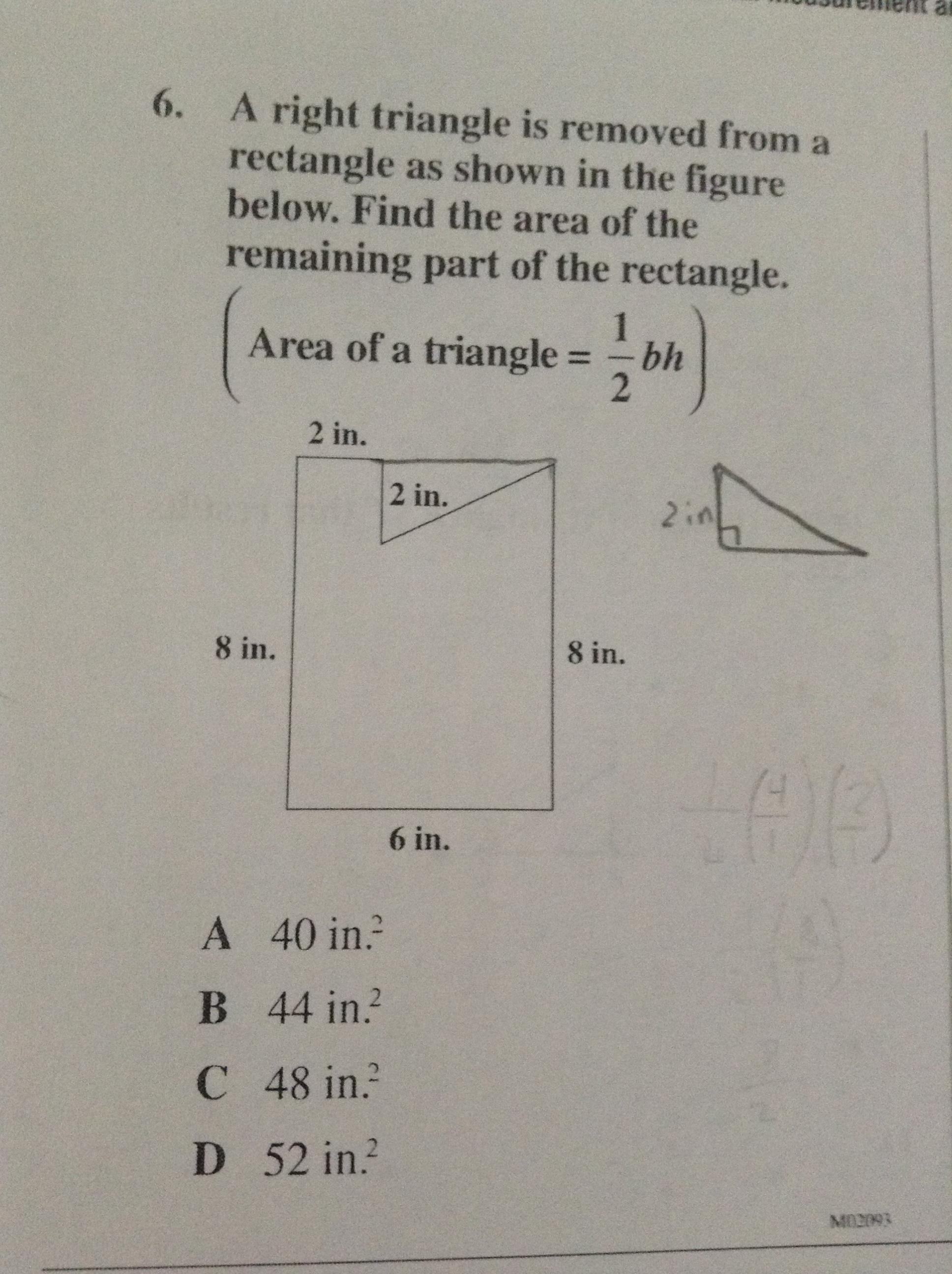 A Right Triangle Is Removed From A Rectangle As Shown In The How To Find The