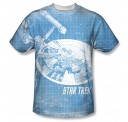 Star Trek Enterprise Ship Blueprint One Side Adult T-shirt