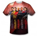 Star Trek Captains One Side Subl Print Adult T-shirt