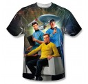 Star Trek Kirk, Spock and McCoy Sublimation Print Polyester SS Adult T-shirt