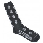 Doctor Who Mens All over Logo Crew Socks Black