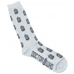 Doctor Who Mens All Over  Logo Crew Socks Grey
