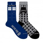 Doctor Who Mens 2 Pack Tardis and Dalek Crew Socks