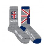 Doctor Who Mens 2 Pack Union Flag Tardis Crew Socks