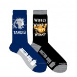 Doctor Who Mens 2 Pack Tardis and Wibbly Wobbly Crew Socks