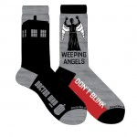 Doctor Who Mens 2 Pack Tardis and Weeping Angels Crew Socks