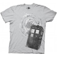 Doctor Who Tardis in Vortex Gray T-Shirt