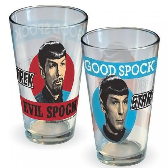 Star Trek Good Spock and Evil Spock 16oz Pint Glass