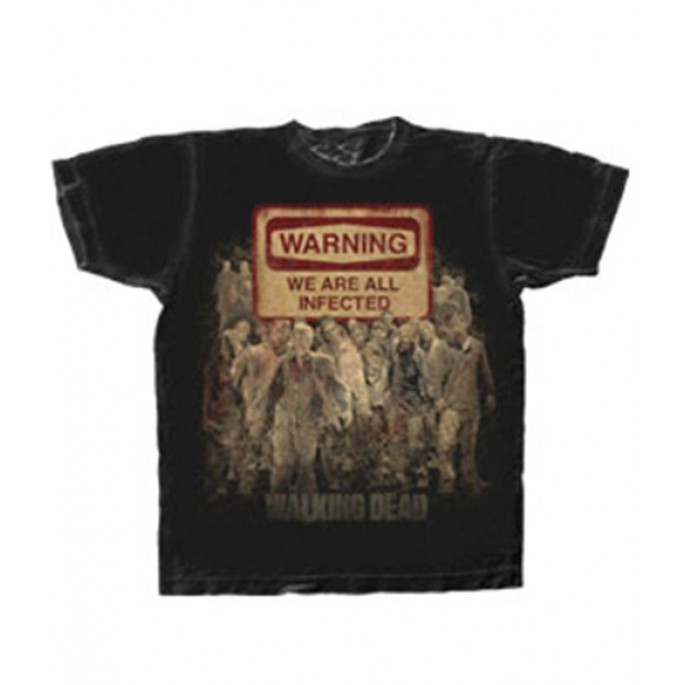 The Walking Dead Warning We Are All Infected Black Adult T-Shirt