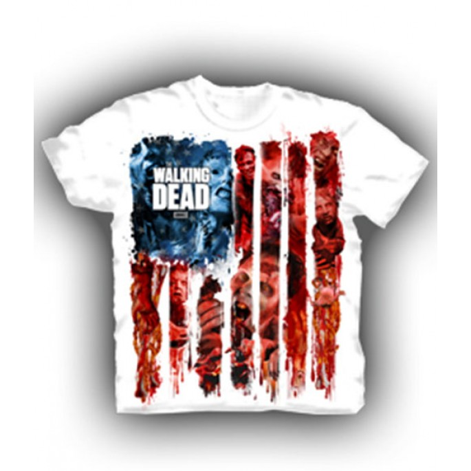 The Walking Dead Walker Flag Montage Adult T-Shirt