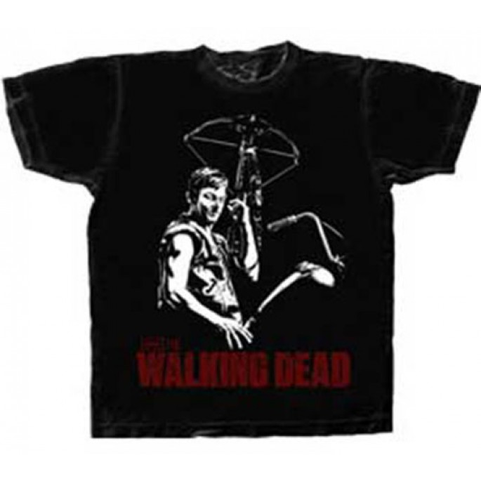 The Walking Dead Black and White Daryl with Crossbow Black Adult T-Shirt
