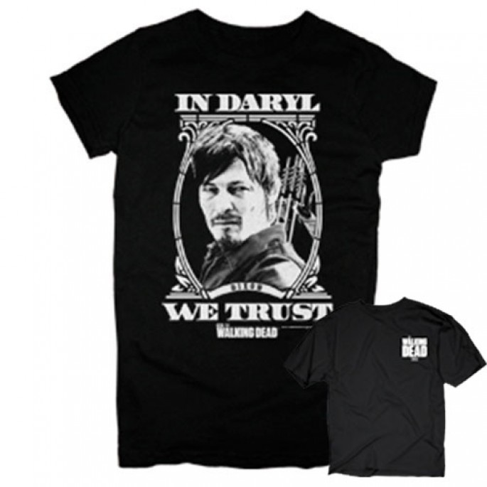 The Walking Dead In Daryl We Trust Double Sided Black Adult T-Shirt