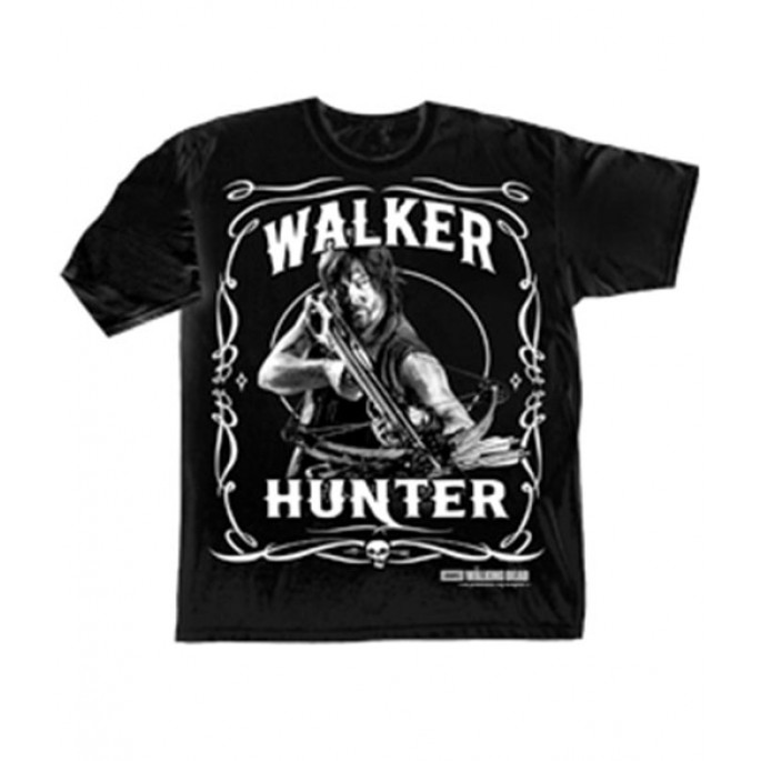 The Walking Dead Daryl Walker Hunter Design Black Adult T-Shirt