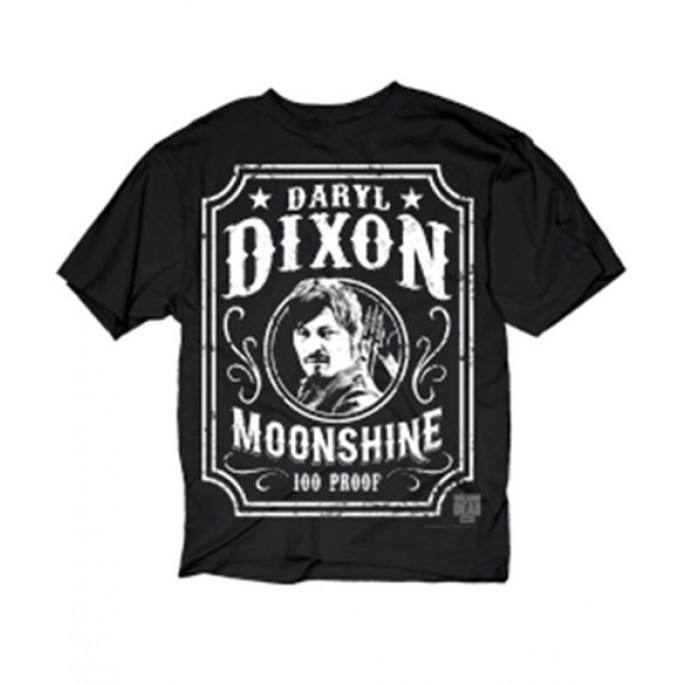 The Walking Dead Dixon Moonshine Daryl's Face Black Adult T-Shirt