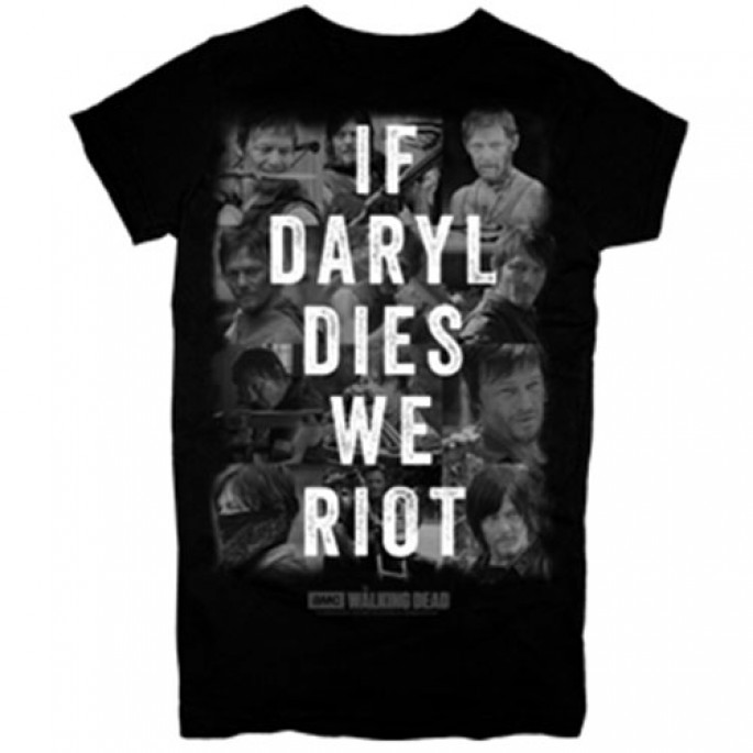 The Walking Dead If Daryl Dies We Riot Black Adult T-Shirt
