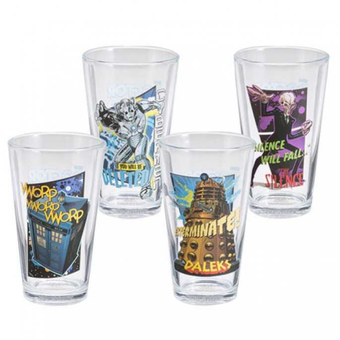 Doctor Who Comics 4 pc. 16 oz. Glass Set
