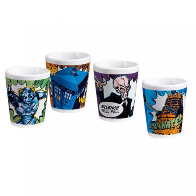 Doctor Who Comics 4 pc. Ceramic Mini Glasses