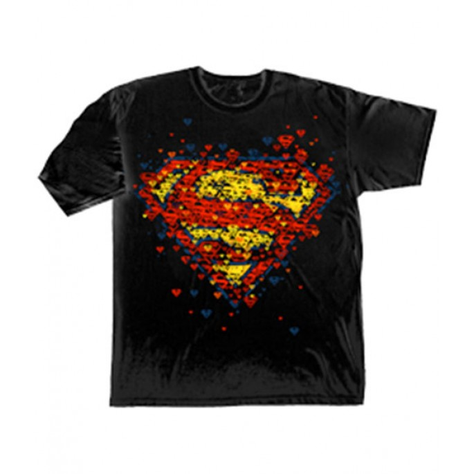 Superman Scattered Logos Adult T-Shirt