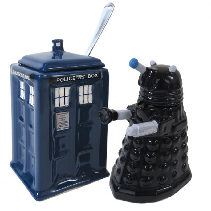 Dalek and Tardis Creamer and Sugar Bowl