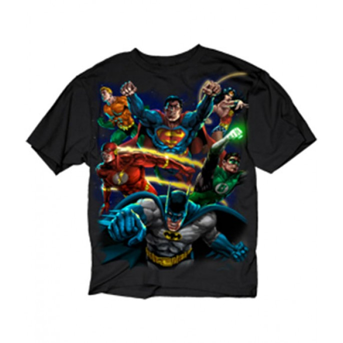 DC Comics Painted DC Heroes Adult T-Shirt