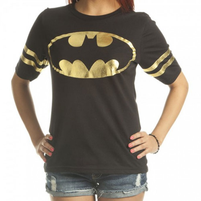 Batman All Foil Juniors Black Athletic T-Shirt