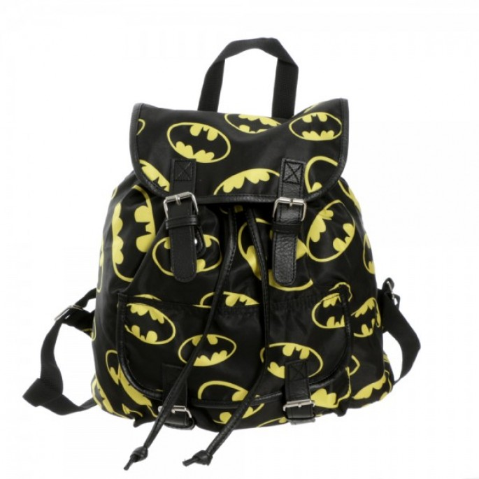 Batman Toss Print Logos Black Juniors Knapsack