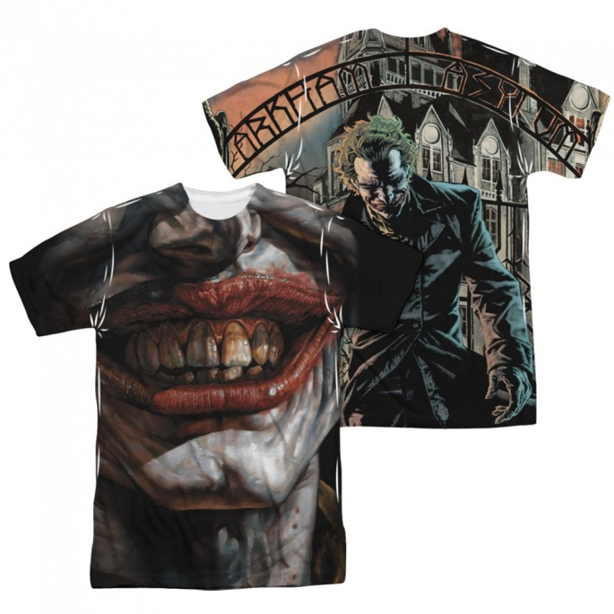 Batman Asylum Joker Mouth Double Sided Sublimation Adult T-shirt