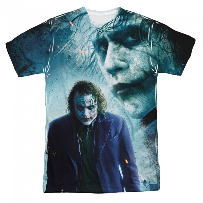 Batman Dark Knight Joker Gotham's Chaos Single Sided Sublimation Adult T-shirt