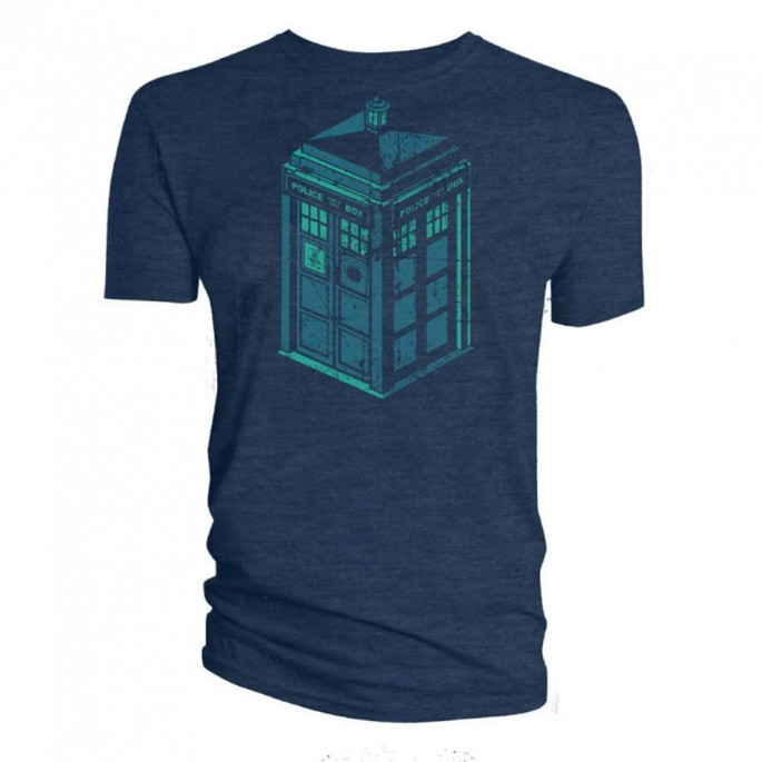 Doctor Who Green and Blue Art Tardis Adult T-Shirt