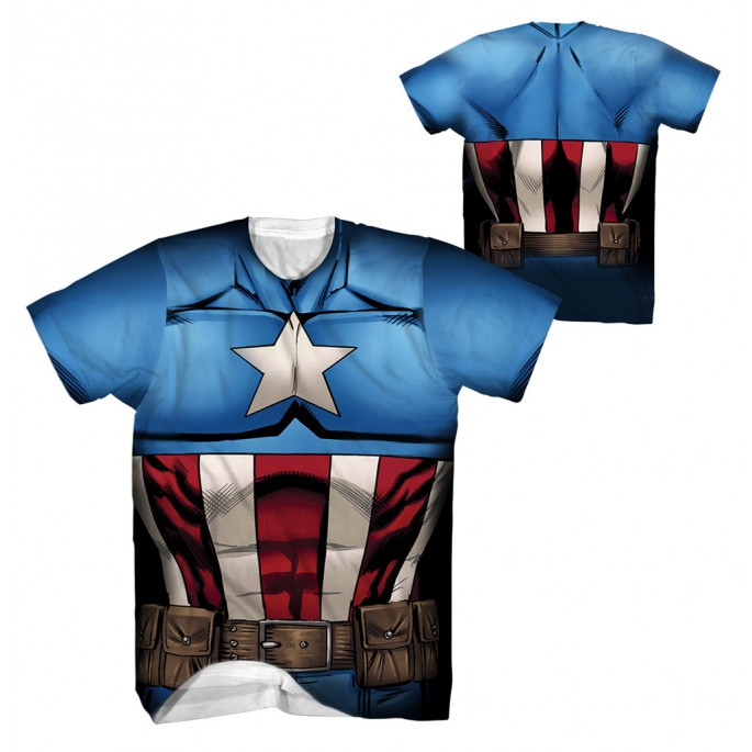 Captain America  - Captain Stance Sublimation Costume T-Shirt