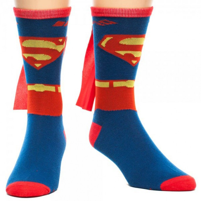 Superman 'Suit Up' Men's Crew Sock with Cape