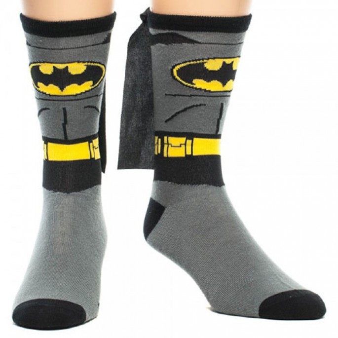 Batman 'Suit Up' Mens Crew Socks with Cape
