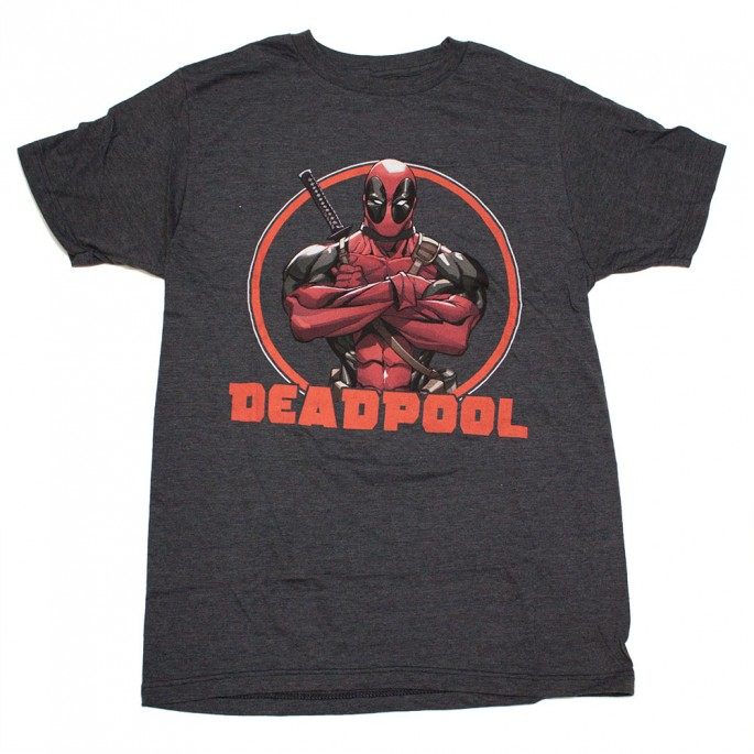 Marvel Stern Deadpool Charcoal Adult T-Shirt