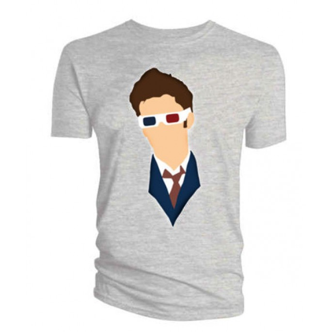 Doctor Who David Tennant Vector 3D Glasses Gray Mens T-Shirt