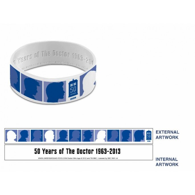 Doctor Who 50th Anniversary Silhouette Blue / White Wristband